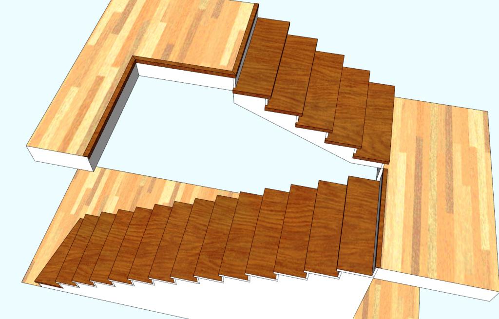 Обшивка лестницы из бетона: маршевая, с площадкой. «БУК»