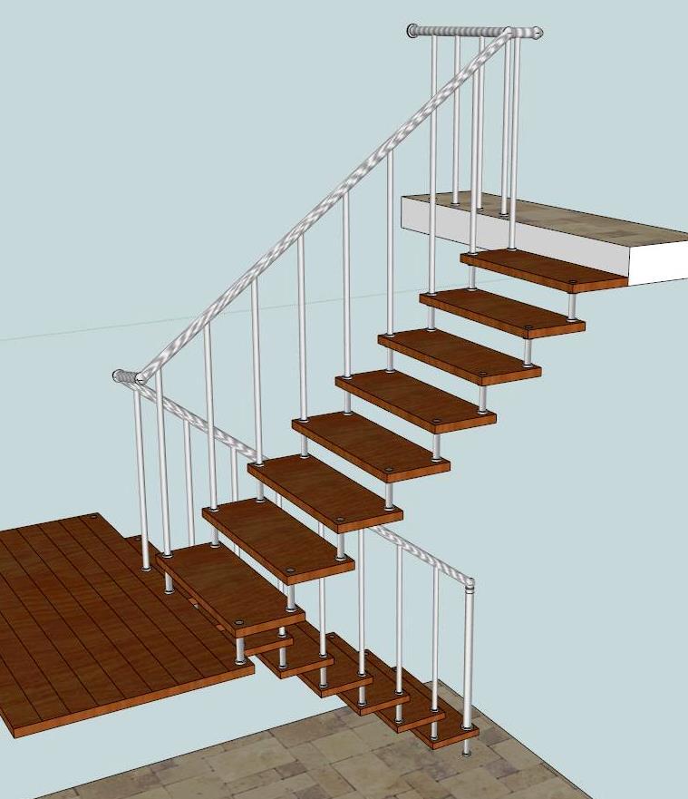 Лестница на больцах маршевая, с площадкой. «БУК» + сталь полимер.