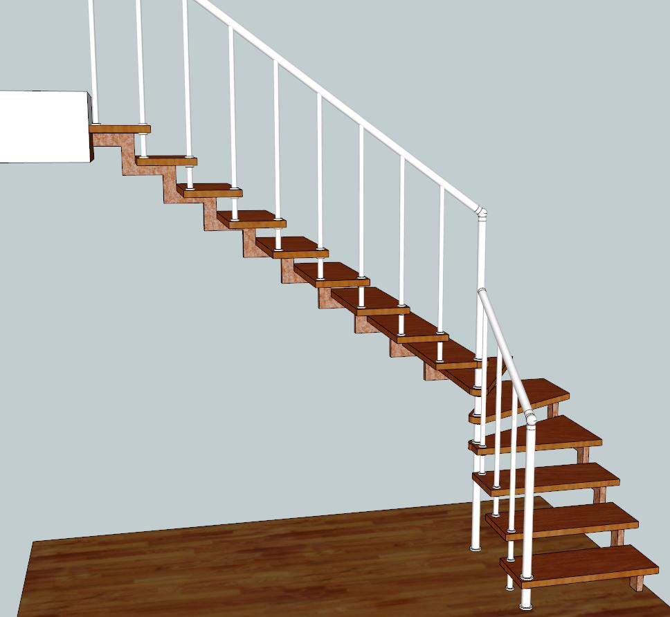 Лестница на косоурах и больцах маршевая, с поворотом 90 град. «БУК»+ сталь полимер.
