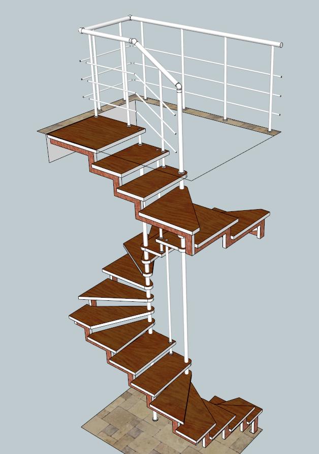 Лестница на косоурах и больцах забежная. «БУК»+ сталь полимер.