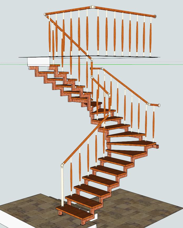 Лестница на косоурах маршевая, с поворотом 90 град. «БУК»+ сталь полимер.