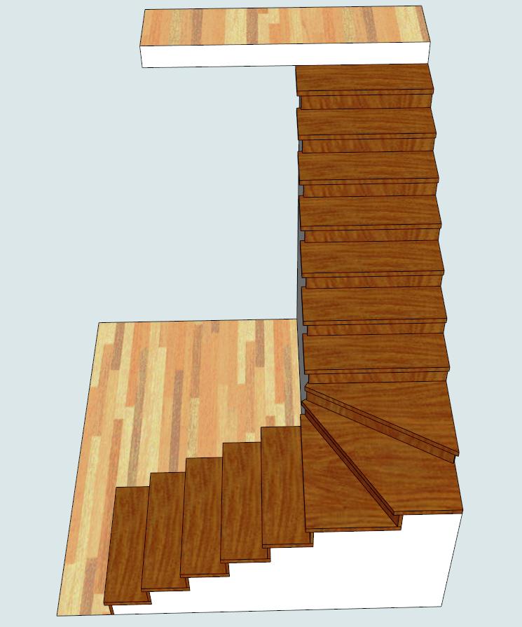 Обшивка лестницы из бетона: маршевая, с поворотом 90 град. «БУК»