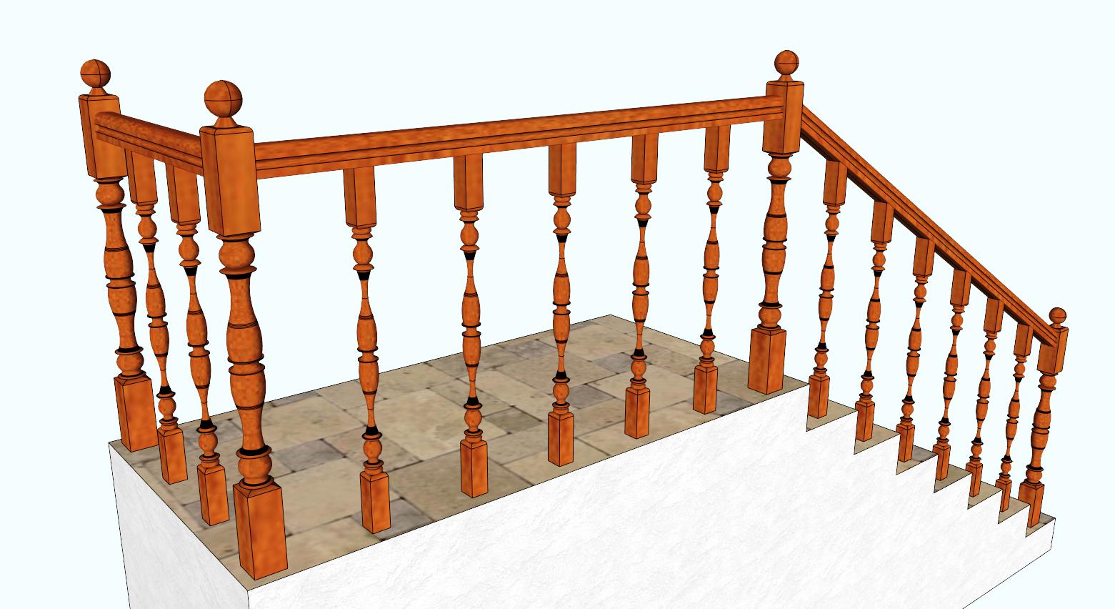 Ограждения из массива древесины классические. «БУК»