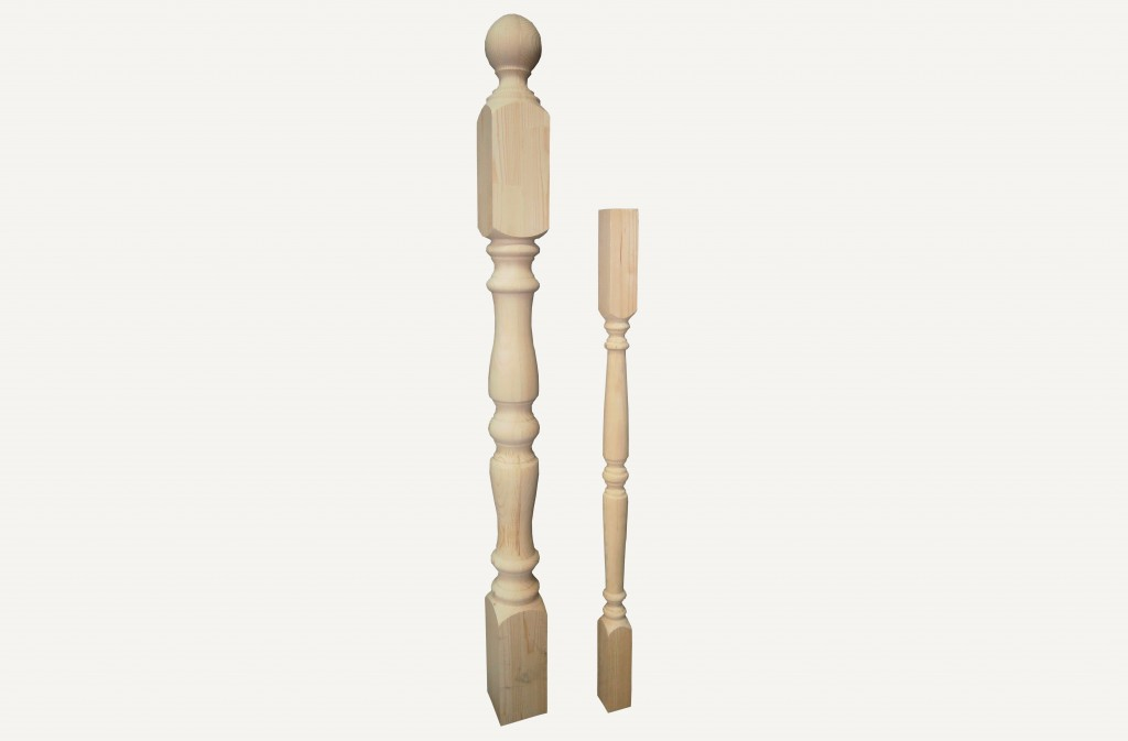 Начальный столб деревянный Ф 80 Бук для лестниц