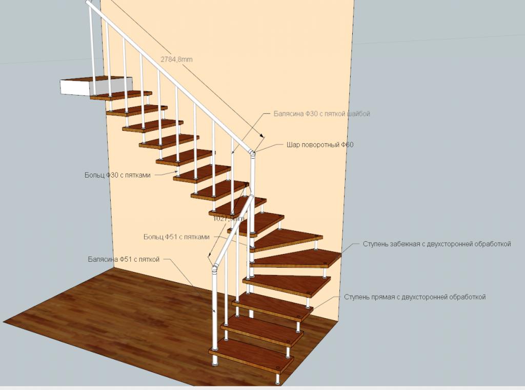 Лестница на больцах маршевая, с поворотом 90 град. «БУК»+ сталь полимер.