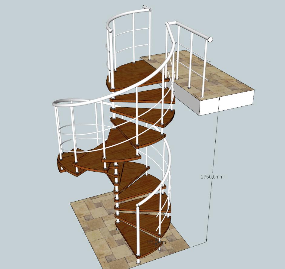 Лестница на больцах винтовая. «БУК»+ сталь полимер.