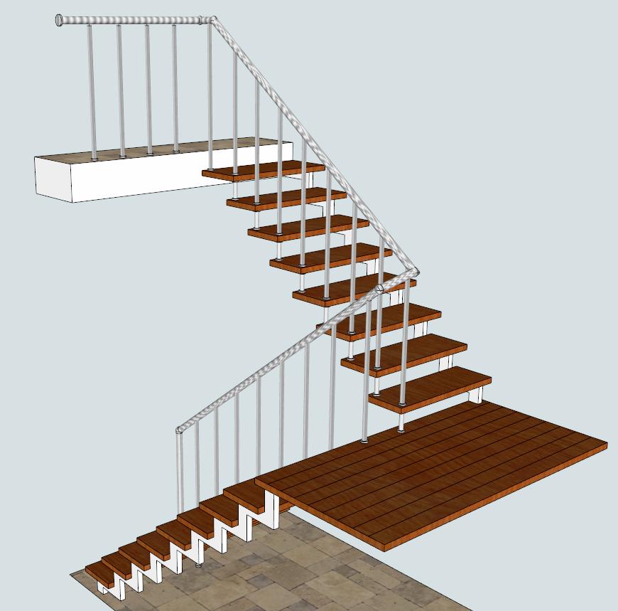 Лестница на косоурах и больцах маршевая, с площадкой. «БУК» + сталь полимер.