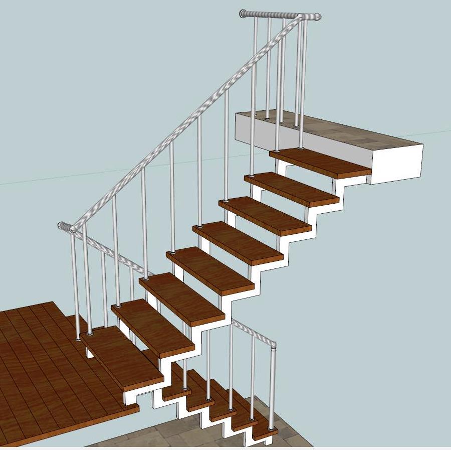 Лестница на косоурах маршевая, с площадкой. «БУК» + сталь полимер.